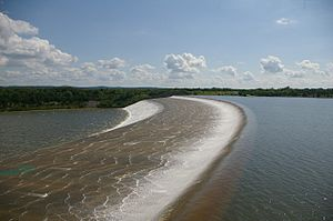 Lake Texoma - Water going over emergency spillway for the third time in the dam's history, July, 2007