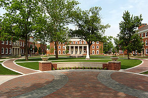 "DePauw University - The DePauw quadrangle: ""Roy O"" library (C) and humanities courses buildings (L and R)"