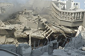 Destroyed balustrade in bombed Beirut house July 20 2006.jpg