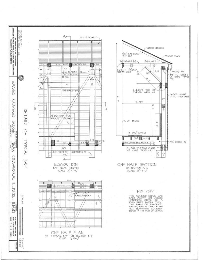 File details of typical bay elevation one half section for Half size set of plans