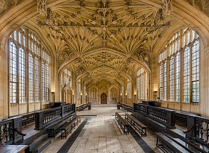 Looking east in the interior of the Divinity School in the Bodleian Library, Oxford, Oxfordshire, England.