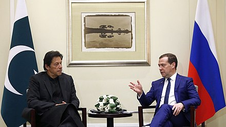 Khan meeting with Russian Prime Minister Dmitry Medvedev in November 2018 Dmitry Medvedev's meeting with Prime Minister of Pakistan Imran Khan.jpg