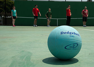 Dodgeball - A dodgeball on a court, prior to the beginning of the match.