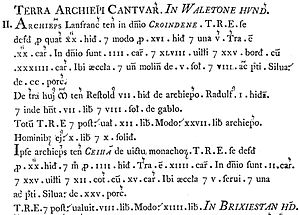 Scribal abbreviation - Entries for Croydon and Cheam, Surrey, in Domesday Book (1086), as published using record type in 1783.