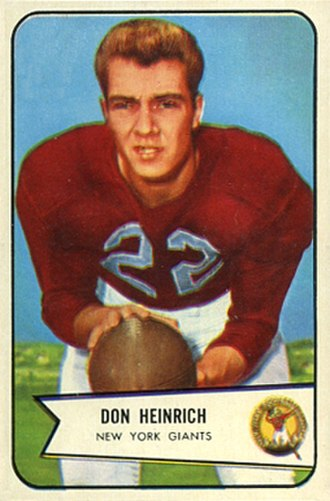 Don Heinrich - 1954 Bowman football card