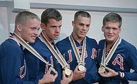 Don Schollander, Gary Ilman, Mike Austin, Steve Clark 1964.jpg