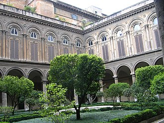 Doria Pamphilj Gallery - The courtyard. The first floor shutterd windows are those of a four sided gallery, housing the collection's principal paintings.
