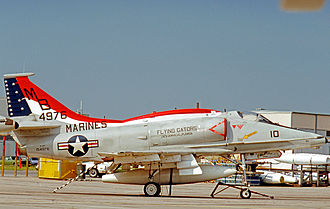 VMFA-142 - Douglas A-4F Skyhawk of VMA-142 at their NAS Jacksonville base in 1976 wearing their Flying Gators nickname