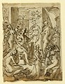 Drawing, Page of a sketchbook; Zeuxis painting Helen; Studies of figures, ca. 1590 (CH 18118013).jpg