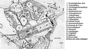 Drottningholms slot og park, orienteringsplaner og forklaringer