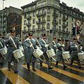 Drummers in a rainy 1968 Fetes de Geneve parade.jpg