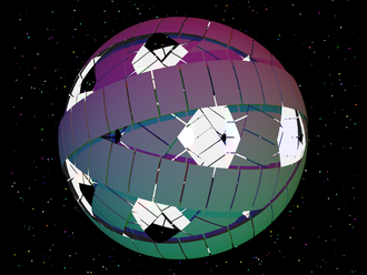 """Freeman Dyson - Artist's concept of Dyson rings, forming a stable Dyson swarm, or """"Dyson sphere"""""""
