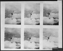 six shots of a MiG, showing the pilot bailing out