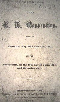 East Tennessee Convention Proceedings title page