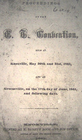 East Tennessee Convention - East Tennessee Convention Proceedings title page