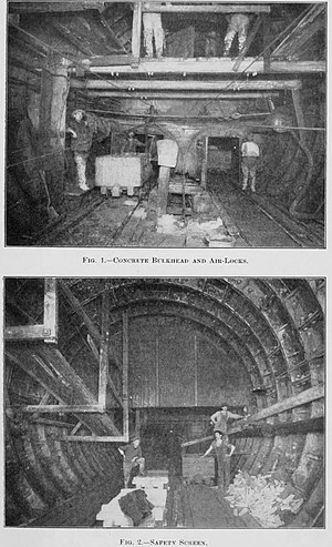 East River Tunnels - Construction of the East River Tunnels, 1909.