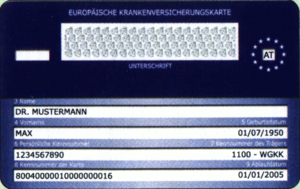 European Health Insurance Card - Sample European Health Insurance Card from Austria (reverse).