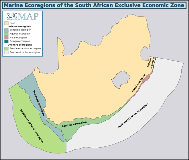 Marine ecoregions of the South African Exclusive Economic Zone: Langebaan Lagoon Marine Protected Area is in the Benguela ecoregion Ecoregions of SA EEZ.png