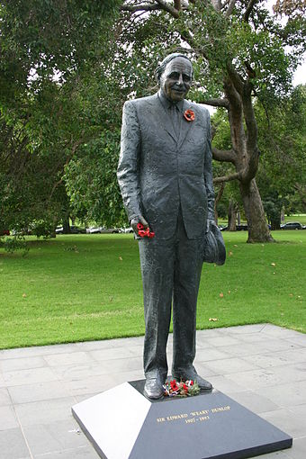 A bronze statue of Edward Dunlop situated in the Domain Parklands, Melbourne Edward Dunlop (statue in Melbourne Botantic Gardens).jpg