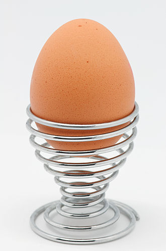 Boiled egg - A boiled egg, presented in an eggcup