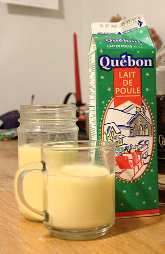 """Eggnog - A carton and a glass of eggnog from Montreal, Canada, showing its French façade (English is on the reverse) and the French term lait de poule (literally, """"hen's milk"""")"""