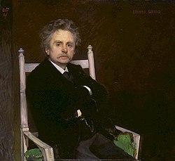 Edvard Grieg. Målning av Eilif Peterssen 1891.