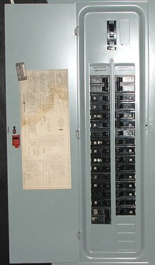 distribution board an american circuit breaker panel featuring interchangeable circuit breakers