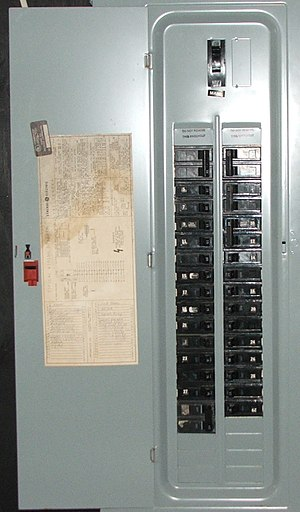 Distribution board - An American circuit breaker panel featuring interchangeable circuit breakers