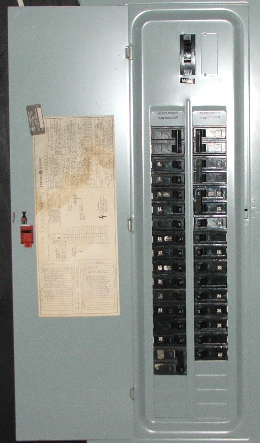 An American circuit breaker panel featuring interchangeable circuit breakers
