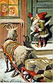 Elf on the front steps ringing the doorbell while 2 children look outside the window, artist... (NBY 5782).jpg