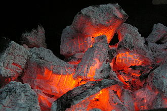 Smouldering - Smouldering combustion in glowing embers of barbecue coal briquettes