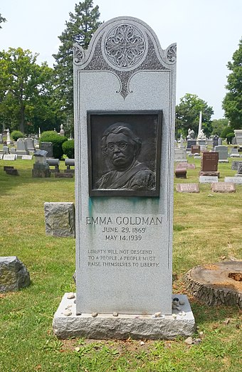 Goldman's grave in Illinois' Forest Home Cemetery, near those of the anarchists executed for the Haymarket affair. The dates on the stone are incorrect. Emma-Goldman-Grave-Forest-Home-Cemetery-Il.jpg