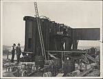 Erection of girders on the southern platform of the Sydney Harbour Bridge, 1928 (8282686359).jpg