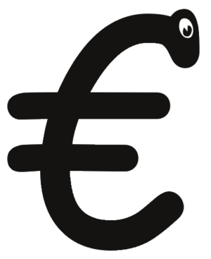 Euro symbol with comic sans font