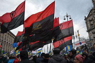 Congress of Ukrainian Nationalists - The flag, seen in Kiev, in December 2013