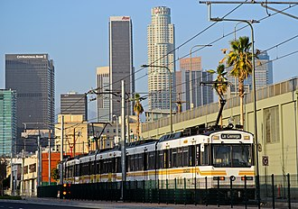 2028 Summer Olympics - A Metro Expo Line train in Downtown Los Angeles