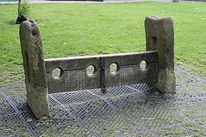 Village stocks in , Derbyshire, England, locat...