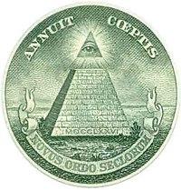 Symbole de l'œil surmontant la pyramide sur le billet de un dollar US