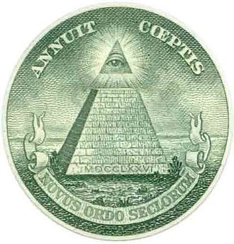 The Illuminatus! Trilogy - The Eye in the Pyramid as represented by The Great Seal of the United States on a dollar bill