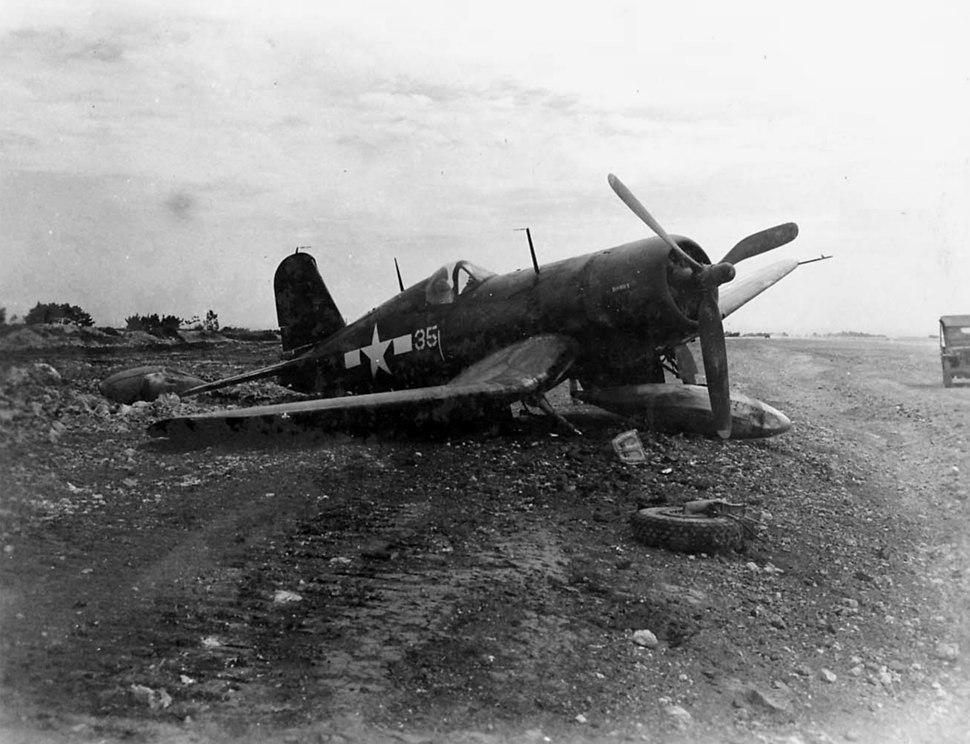 F4U VMF-314 battle damaged on Ie Shima 1945.jpeg