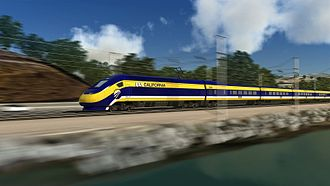 California High-Speed Rail - Artist's rendering of a TGV-Type California High-Speed Rail trainset with livery; this type of train is used in all CHSRA materials, but since the exact model of trainset to be acquired is not known, this is only illustrative.