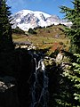 Fall colors and Mt Rainier. Trail bridge from view point. (c8d19aefba9742acbfd7ee5b465d294e).JPG