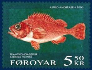 Sebastes mentella auf einer Briefmarke der Färöer.