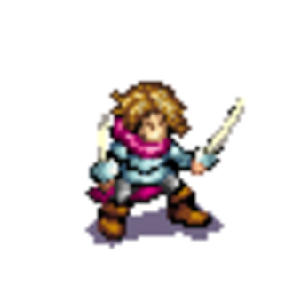 The Battle for Wesnoth - This animated sprite of an attacking fencer unit portrays the general style of Wesnoth sprites.