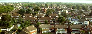 Feltham - Skyline of West Feltham and Bedfont Lakes looking north-west.