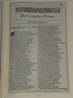 Prima pagina di The Comedy of Errors nel First Folio