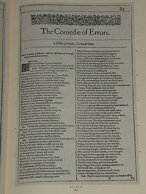Photo of the first page of The Comedy of Error...