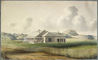 Capital of New Zealand - The first Government House in Auckland, as painted by Edward Ashworth in 1842 or 1843