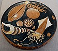 Fish plate, attributed to Darius Painter workshop, Greek-South Italian, Apulia, c. 340-320 BC, red-figure terracotta - Blanton Museum of Art - Austin, Texas - DSC07624.jpg