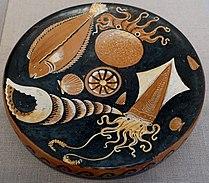 Fish plate, attributed to Darius Painter workshop, Greek-South Italian, Apulia, c. 340-320 BC, red-figure terracotta - Blanton Museum of Art - Austin, Texas - DSC07624.jpg